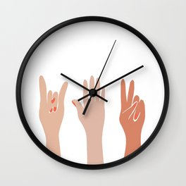 Hand Signs Female Abstract Graphic Design Wall Clock