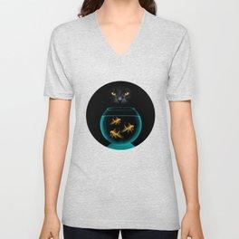 Black Cat Goldfish Unisex V-Neck