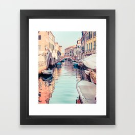 Boats rest in a Venice Canal Fine Art Print Framed Art Print