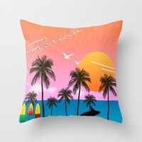 florida Throw Pillows featuring Florida  by mark ashkenazi