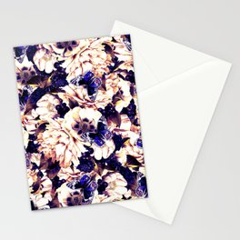 night and day flowers butterflies pattern late sunset Stationery Cards