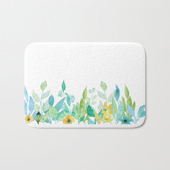 flowers in a meadow - Floral watercolor illustration on white background Bath Mat