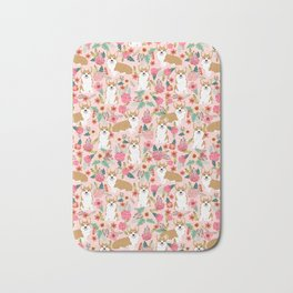 Corgi Florals - vintage corgi and florals gift gifts for dog lovers, corgi clothing, corgi decor, Bath Mat