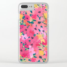 Pink and Peach Garden Clear iPhone Case