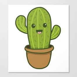 Cute Happy Smiling Cactus Canvas Print