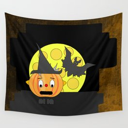 Funny shocked pumpkin head with bat and moon Wall Tapestry