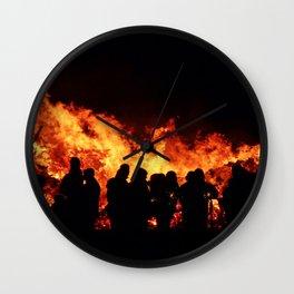 Bonfire burning Wall Clock
