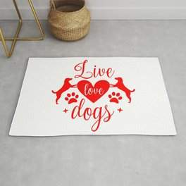Valentines Live Love Dogs - Funny Dog Quotes Rug