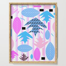 Leaf mix in pink and blue Serving Tray