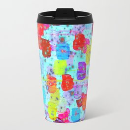 SPECKLE ME DOTTY - Bright Polka Dot Cheerful Aqua Turquoise Blue Rainbow Fine Art Abstract Painting Travel Mug