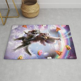 Laser Eyes Space Llama On Sloth Dinosaur - Rainbow Rug
