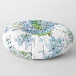 Blue Hydrangea Watercolor Floor Pillow
