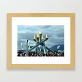 The Olympic Torch on Canada Day Framed Art Print