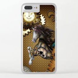 Steampunk, awesome steampunk horse Clear iPhone Case