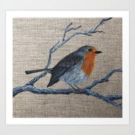thinking robin Art Print
