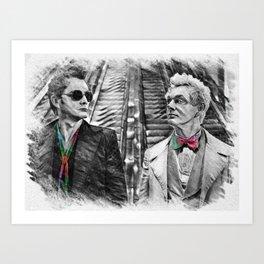 Crowley and Aziraphale Ineffable Husbands Rainbow Ties Art Print