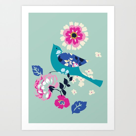Birds and Blooms 3 Art Print