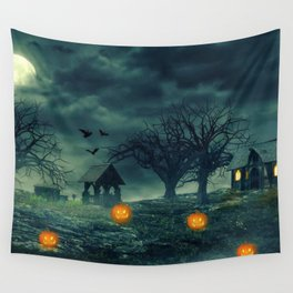 Halloween Scary Barren Meadow Pumkin Heads And Bats At Full Moon Ultra HD Wall Tapestry
