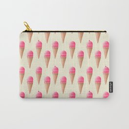 Pink Strawberry Ice Cream Cone Pattern Carry-All Pouch