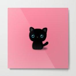 Sweet Black kitten on pastel pink Metal Print