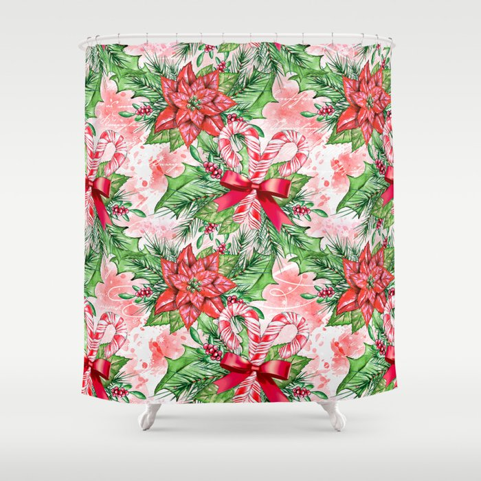 Poinsettia Candy Cane Shower Curtain