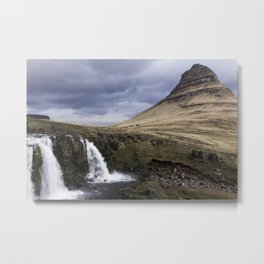 Kirkjufell Waterfalls in Iceland Metal Print
