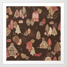 Hansel and Gretel Fairy Tale Gingerbread Pattern on Brown Art Print