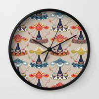 damask Wall Clocks featuring carousel damask by Sharon Turner