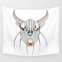 bull Wall Tapestries featuring Bull by HandeAylan