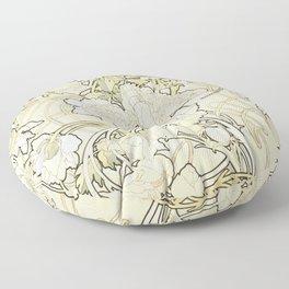 "Alphonse Mucha ""Peonies"" Floor Pillow"