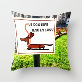 Rennes, France Dachshund Leash Sign in Park Throw Pillow