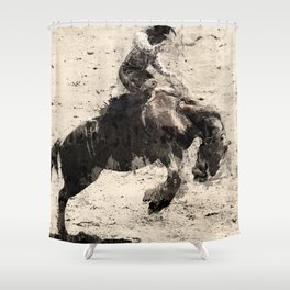 Hanging On - Bronco Busting Champ Shower Curtain