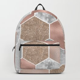 Gentle rose gold and marble hexagons Backpack