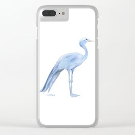 Blue Crane Watercolor Clear iPhone Case