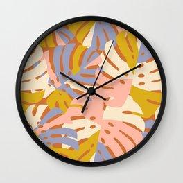 Color Block Monstera Pink + Lavender Wall Clock