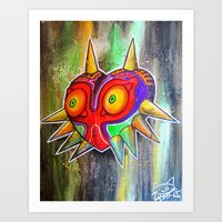 majora Art Prints featuring Majora mask by Lyxy