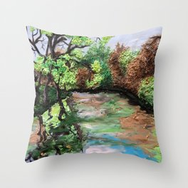 Early Spring - polymer clay painting Throw Pillow