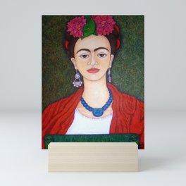 Frida portrait with dalias Mini Art Print