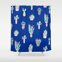 Little cactus pattern - Princess Blue Shower Curtain