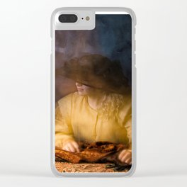 Girl in Rembrandt light Clear iPhone Case