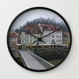 Ljubljana Castle In The Fog Wall Clock