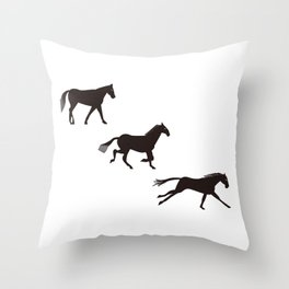 a horse runs Throw Pillow