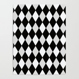 Harlequin Black and White and Gray Poster