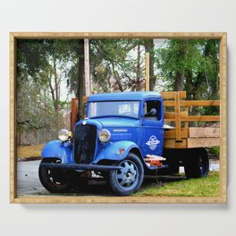Blue Aged Truck Serving Tray