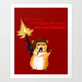 Hamster Rambo Text - by Rui Guerreiro Art Print