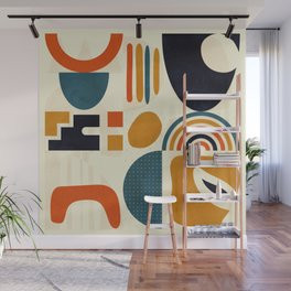 mid century shapes geometric abstract color 3 Wall Mural