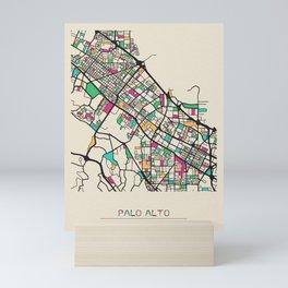 Colorful City Maps: Palo Alto, California Mini Art Print