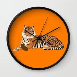 Orange Football Tiger Wall Clock