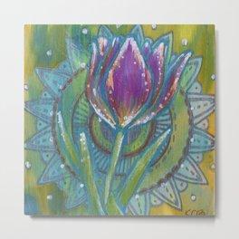 Tulip and mandala Metal Print