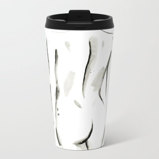 Black on White Nude No.2 Metal Travel Mug
